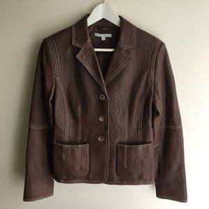CAbi. Brown leather jacket with contrast stitching